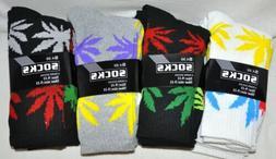Pot Multicolor Leaf Crew Socks White/Gray/Black 3 Pair Size