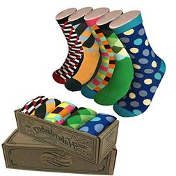 Modern Motif Men's Power Socks, 5 Pairs Per Sock Gift Box,