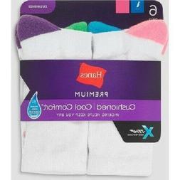 """Hanes® PREMIUM X-Temp ® Women's Crew Socks 6-Pack """"Cusdhio"""