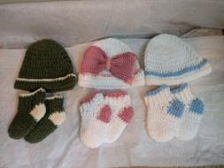 Premmie/Newborn hat and socks set handmade crochet any gende