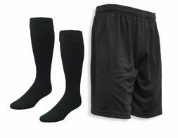 Pro Soccer Shorts-n-Socks Kit in basic black, for kids and a
