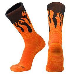 Swanq Pyro Flame Fire Basketball Football Crew Socks by TCK