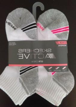 Skechers Quarter Crew Women's 6 Pair socks in White/Pink Siz