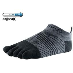 Injinji Women's Run Lightweight No-Show Toe Socks, Black, X-