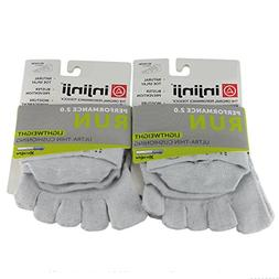 Injinji Run Lightweight No-Show 2-Pack Grey Unisex Vibram To