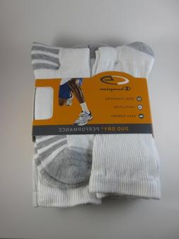 SALE Men's C9 Champion Duo Dry Crew Sock White Size 6-12, 6