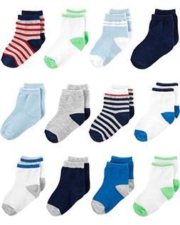 Simple Joys by Carter's Boys' 12-Pack Socks, Blue/White/Grey