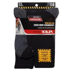 Dickies Size 6-12 Mens Comfort Crew Work Socks 6 Pairs Black
