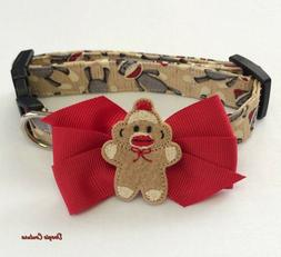 Sock Monkey Inspired Dog Collar With Bow Size XS-L by Doogie