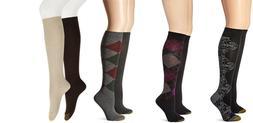 Gold Toe Socks 2 pair Socks Argyle or Transition Floral Knee