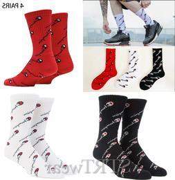 champion socks 4 pairs all over print crew sox for men women
