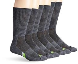 PUMA Socks Men's Crew Socks, Grey/Green, 10-13/6-12