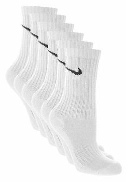 NIKE PERFORMANCE SOCKS 6 PAIR 12 NEW SOCKS WHITE MEN'S CREW