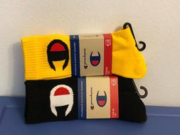 Champion Socks Mens Crew Black & Yellow