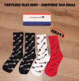 Champion socks mid calf all over logo for men women size 6-1