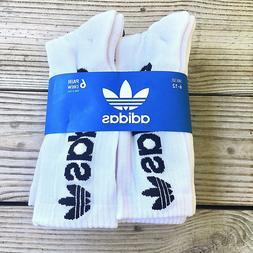 Adidas Socks Moisture Wicking Cotton White Socks 6 Pairs Men