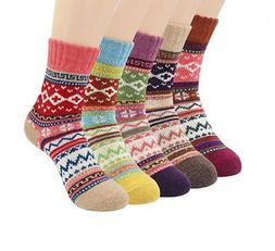 5 Pairs Socks Womens Vintage Style Winter Thick Knitting War