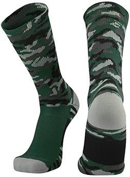 TCK Sports Elite Woodland Camo Crew Socks, Dark Green, Mediu