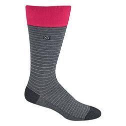 Calvin Klein Men's Multi Stripe Socks in Charcoal / Pink Sho