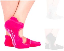 """Happy"" Pink Summer Non Skid No Slip Grip Socks for Barre, P"