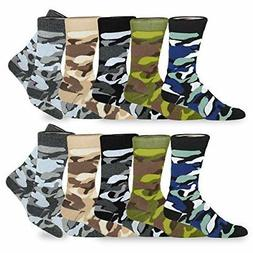 TeeHee Men's Fun and Fashion Cotton Crew Socks 10-Pack