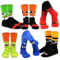 TeeHee Novelty Cotton Fun Crew Socks 6-Pack for Men Guitar S