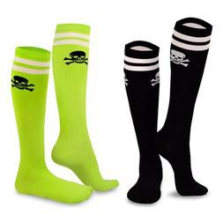 TeeHee Novelty Cotton Knee High Fun Socks 2-Pack Junior and