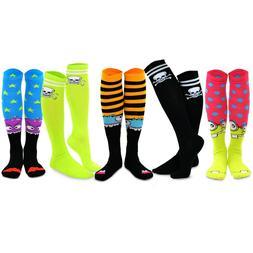 TeeHee Novelty Cotton Knee High Fun Socks 5-Pack Women Skull