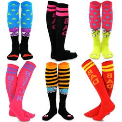 TeeHee Novelty Cotton Knee High Socks 6-Pack Women Monster S