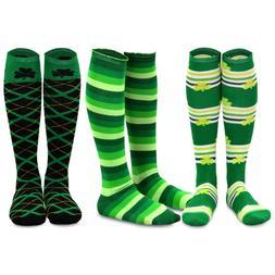 TeeHee St. Patricks Day Cotton Knee High Socks for Women 3-P