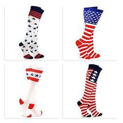 TeeHee USA American Flag Men/Women's Knee High Socks  2 Pair