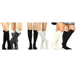 Teehee Women's 2Pairs Pointelle Cotton Knee High Socks Rib R