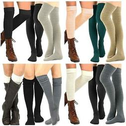 TeeHee Women's Fashion Over the Knee High Socks 3 Pair Combo