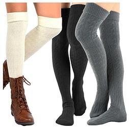 TeeHee Women's Fashion Over the Knee High Socks - 3 Pair Com