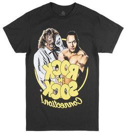 WWE THE ROCK N SOCK MANKIND T-SHIRT FOLEY MENS BLACK WRESTLI