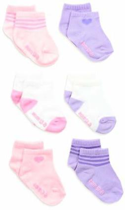 Hanes Girls' Infant Toddler Ankle Socks 6-Pack
