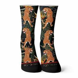 Tropical Tiger Pattern Socks  Jungle Streetwear Book Joe Exo