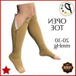 Presadee Open Toe Premium 20-30 mmHg Zipper Compression Leg