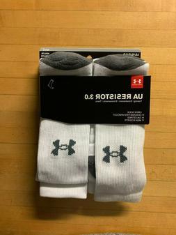 Under Armour U292 Men's White Resistor III Crew Socks - Size