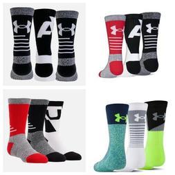 Under Armour  Phenom Crew Socks -3 pairs-Boys Youth