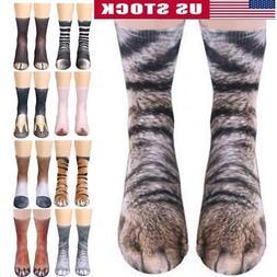 Unisex Casual 3D Animal Paw Printed Long Socks Women Men Win