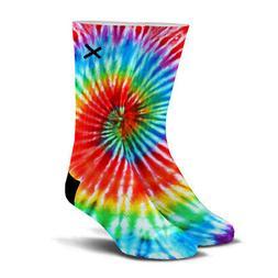 Odd Sox, Unisex, Graphic, Tie Dye Pattern, Crew Socks, Novel
