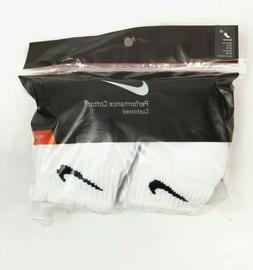 NIKE Unisex Performance Cushion Quarter Socks with Bag , Whi