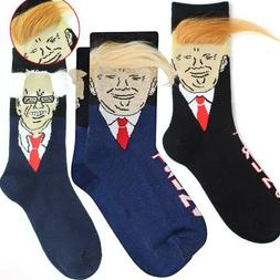 Unisex President Donald Trump Socks 3D Fake Hair Crew Warm S