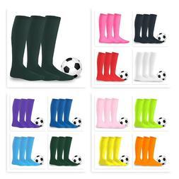 Unisex Soccer Football Sports Team Knee High Socks 3-Pair Te