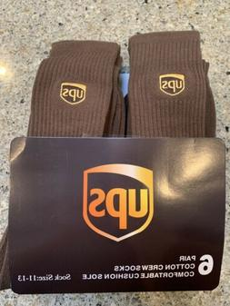 UPS Socks 6 pairs crew lenght brand new size 11-13 Will Ship