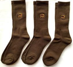 UPS Socks THREE Pair CREW Mens MEDIUM  United Parcel Service
