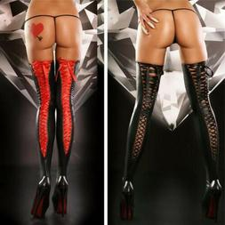 US! Sexy Women Comfortable Thigh-high Stocking Leather Lace