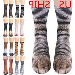 USA! 3D Printed Animal Paw Crew Socks Unisex Women Men Novel