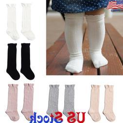 US Toddler Baby Girls Kids Cotton Knee High Ribbed Socks Spa